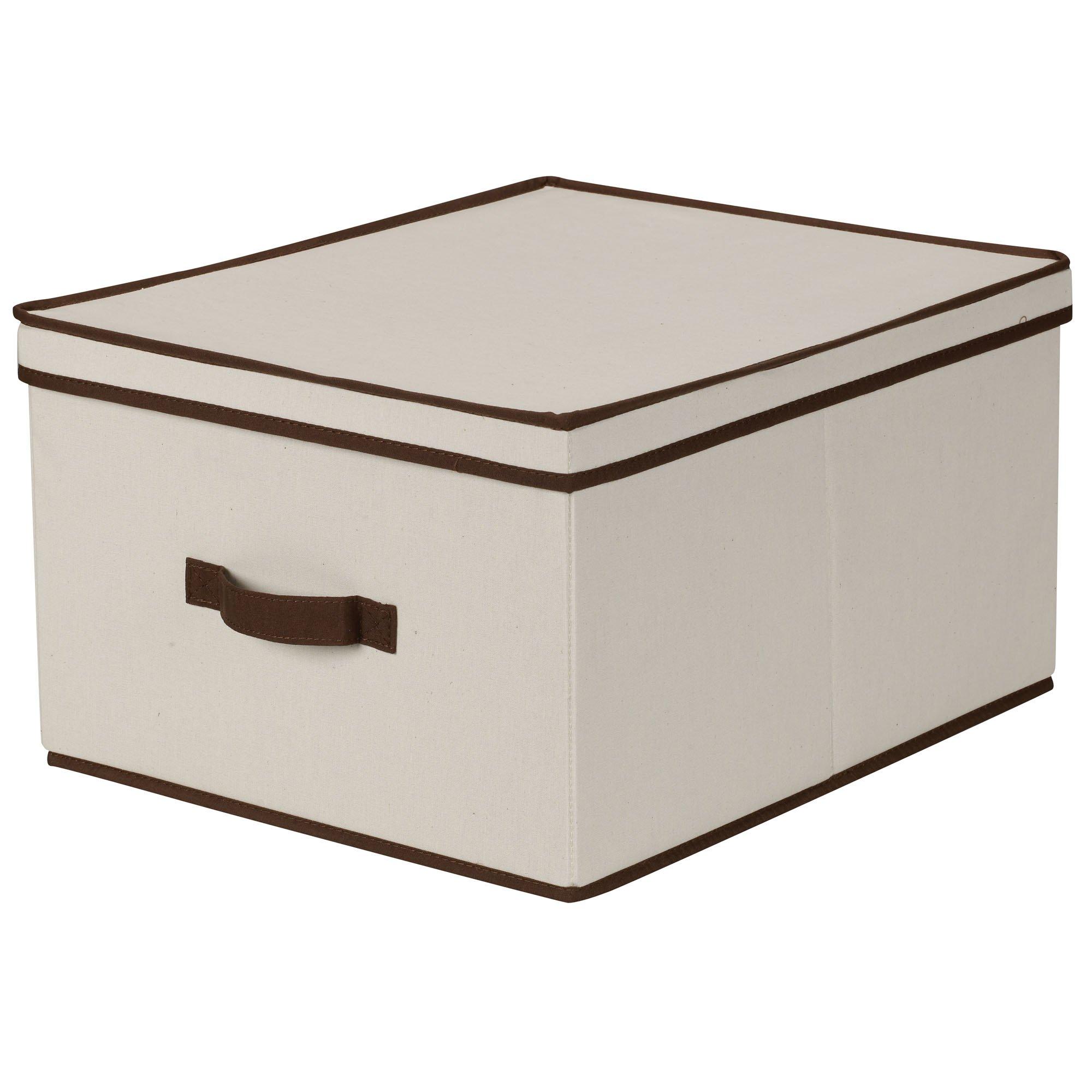 Household Essentials 515 Storage Box Lid Handle- Natural Beige Canvas Brown Trim- Jumbo