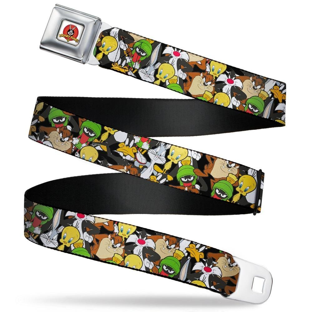 Buckle-Down Mens Seatbelt Belt Looney Tunes Regular 1.5 Wide-24-38 Inches Character Stacked Collage