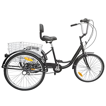 Ridgayard 6 Speed 24 Inch 3 Wheel Adult Tricycle