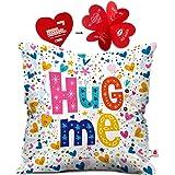 Indigifts Valentine Day Gift Hug Me Quote Randomize Love Symbols White Cushion Cover 16x16 inch - Gift for Boyfriend, Girlfriend, Birthday, Wife, Husband, Anniversary