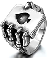 JewelryWe Mens Stainless Steel Ring, Gothic Skull Hand Claw Poker Playing Card, Black Silver (with Gift Bag)