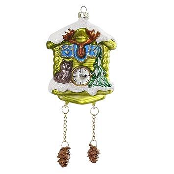 Christbaumschmuck Uhr Kuckucksuhr 16cm Glas Handarbeit