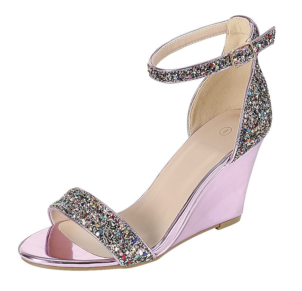 Women's Multi-Color Glitter Open Toe Strappy Ankle Buckle Band Dress Pink Wedge Sandal