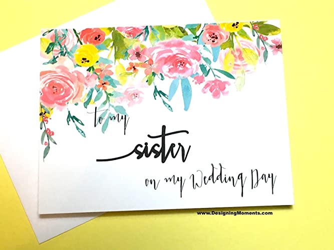 to my sister on my wedding day thank you sister card for sister