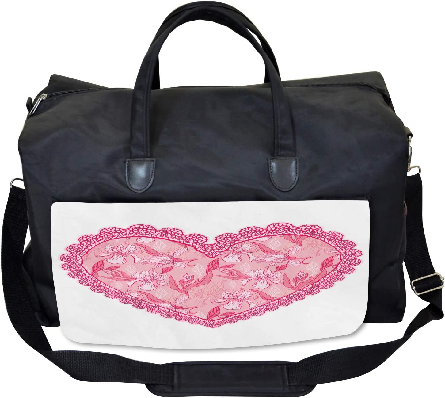 Ambesonne Valentine Gym Bag Lace Heart with Flora Large Weekender Carry-on