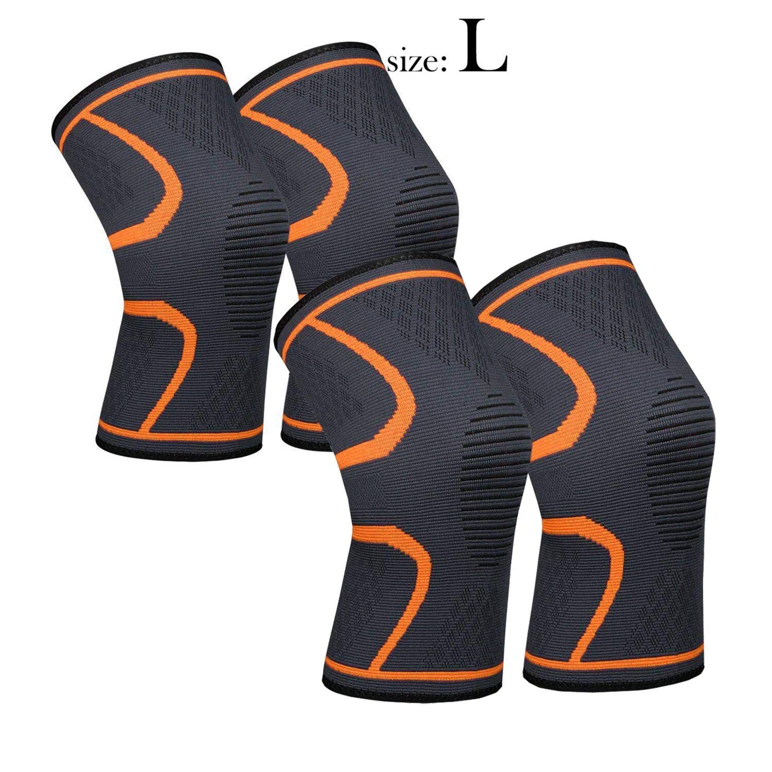 Knee Sleeve, 711TEK Compression Knee Brace for Knee Pain - Premium Recovery Knee Support for Running, Jogging, Sports, Joint Pain Relief, Arthritis - for Men & Women (Orange-L-4Pcs)