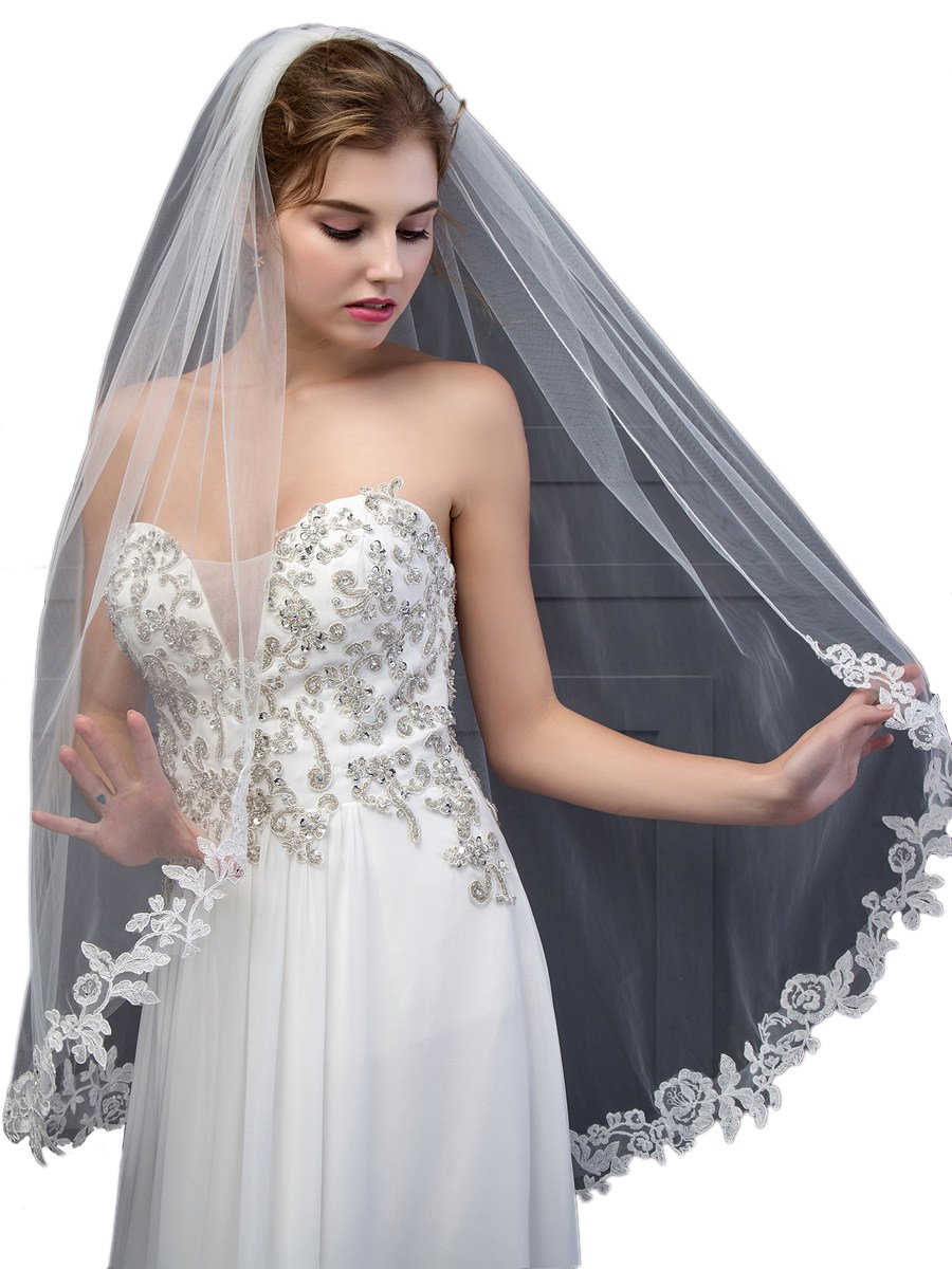 SISJULY Women's Lace Appliques Edge 1T Long Wedding Bridal Veil with Comb Ivory