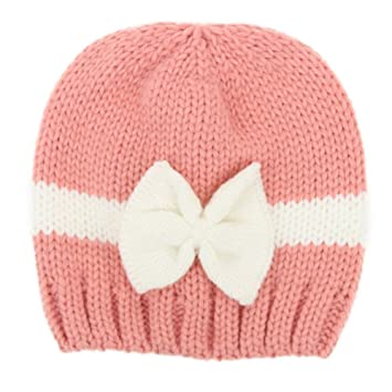 Amazon.com   potato001 Newborn Baby Girl Infant Hat Color Block Bowknot  Winter Warm Knitted Beanie Cap (Pink)   Baby 9bd6e9d8029