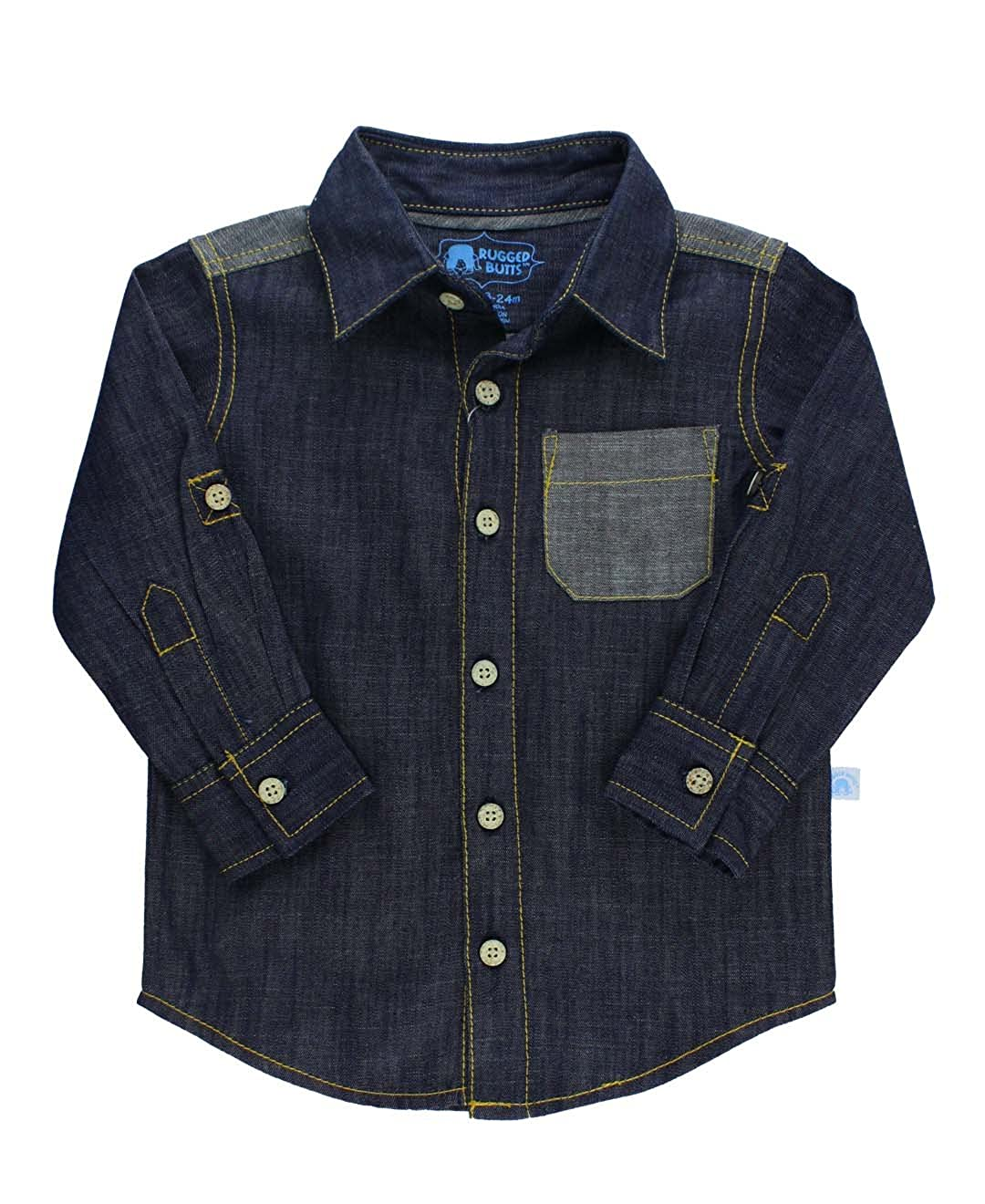 RuggedButts Little Boys Denim Long Sleeve Button Down Shirt with Button Tabs BLWYYXX-DNIM-SC-TDLR