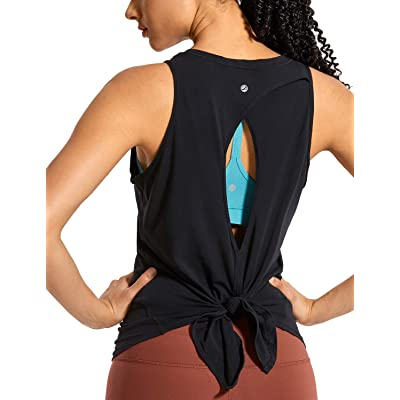 CRZ YOGA Women's Pima Cotton Workout Sleeveless Shirts Round Neck Yoga Vest Open Back Sport Tank Tops at Women's Clothing store