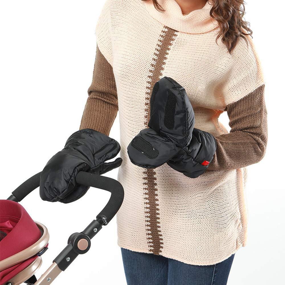Ninpi Winter Warmer Baby Pram Hand Muff Fingerless Gloves Waterproof Windproof Black 1-Pack