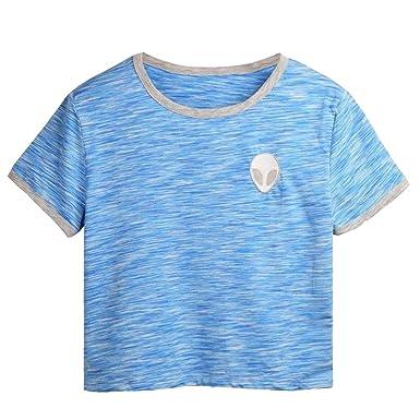 GIGA Women Teen Girl Embroidery Blue Alien Crop Tops T Shirt Cute Camisetas