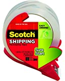 Scotch Sure Start Shipping Packaging Tape with Refillable Dispenser, 1.88 in x 38.2 yd (3450S-RD) 2-Pack