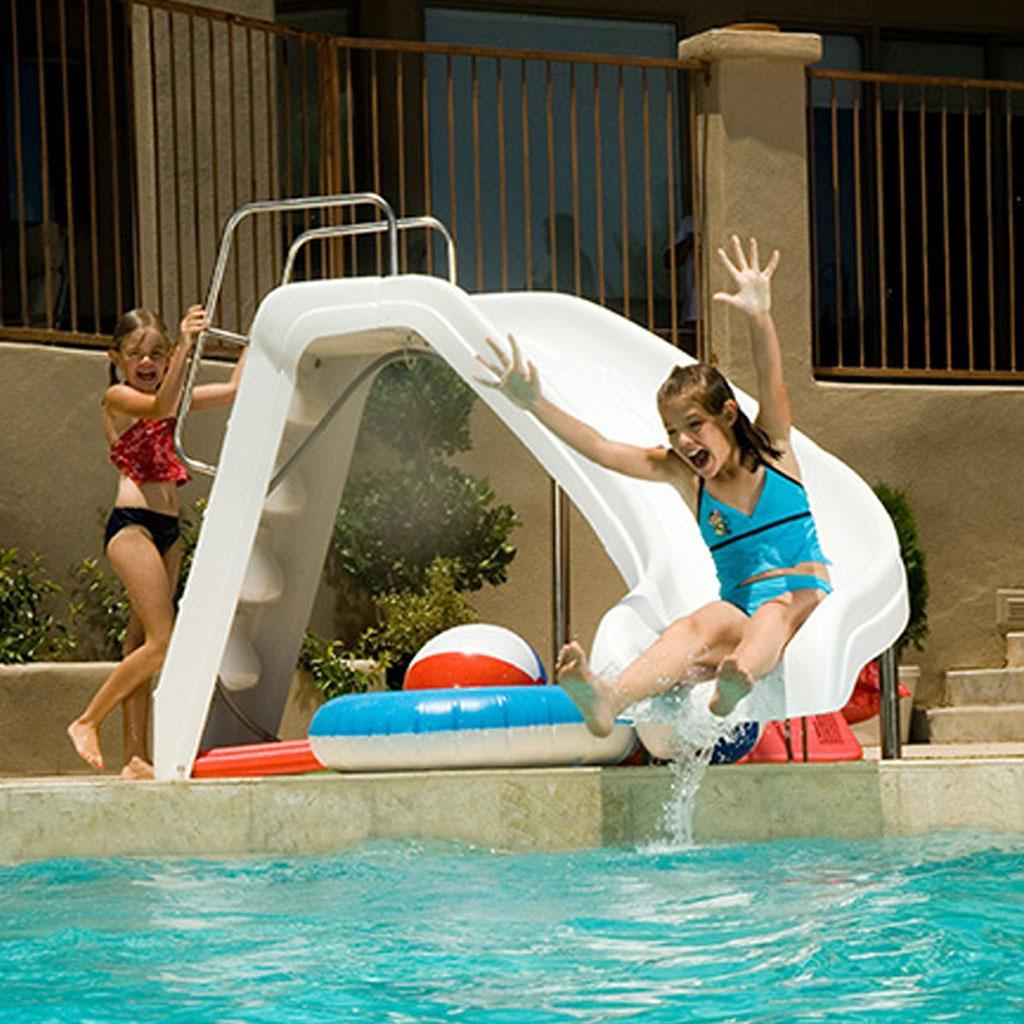Inter fab wws cl ss white water slide left for Garden pool with slide