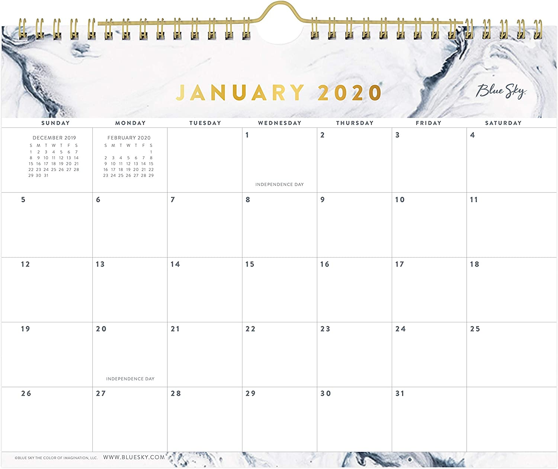 "Blue Sky 2020 Monthly Wall Calendar. Twin-Wire Binding, 11"" x 8.75"", Upstream"