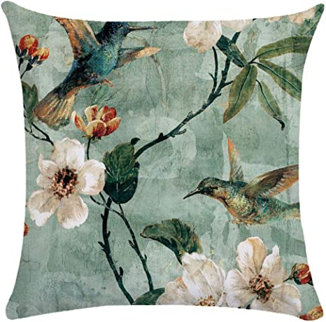 Image ofCaogsh - 2 fundas de almohada de felpa corta para cojín lumbar, sofá, almohada, almohada retro con diseño de pájaros y flores, algodón mixto, Zt002739, 50x50cm(Double-sided printing)