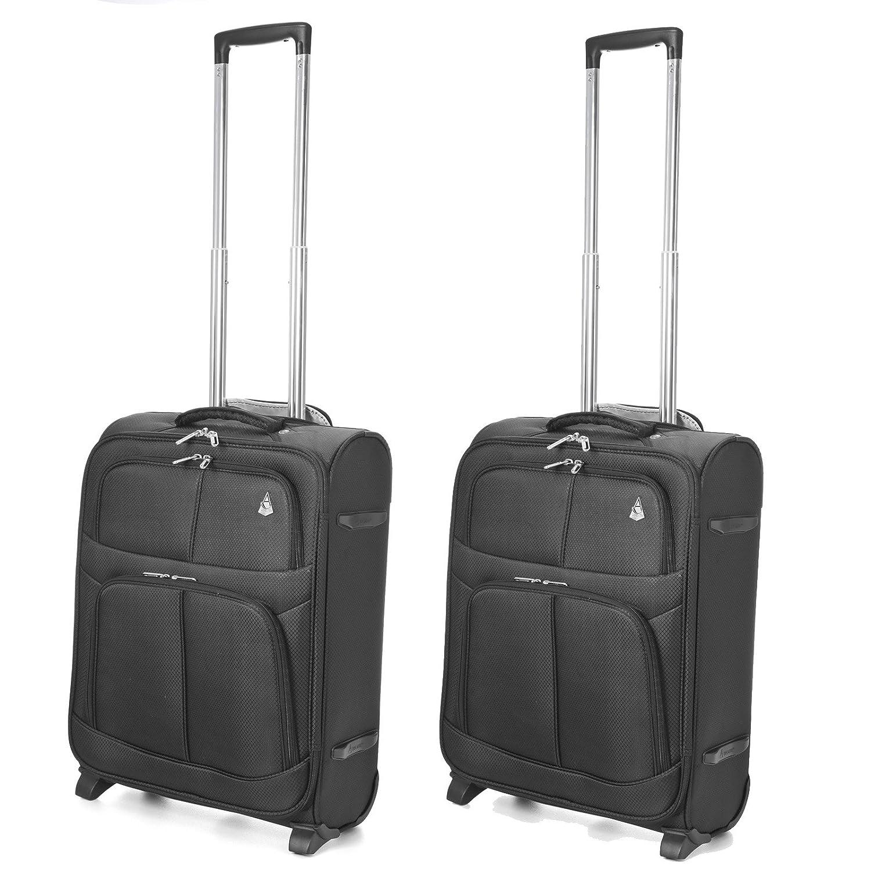 Aerolite Tamaño Máximo de Ryanair y Vueling Trolley Maleta Equipaje de mano cabina 55x40x20 ligera con 2 ruedas, Negro (2 x Negro)