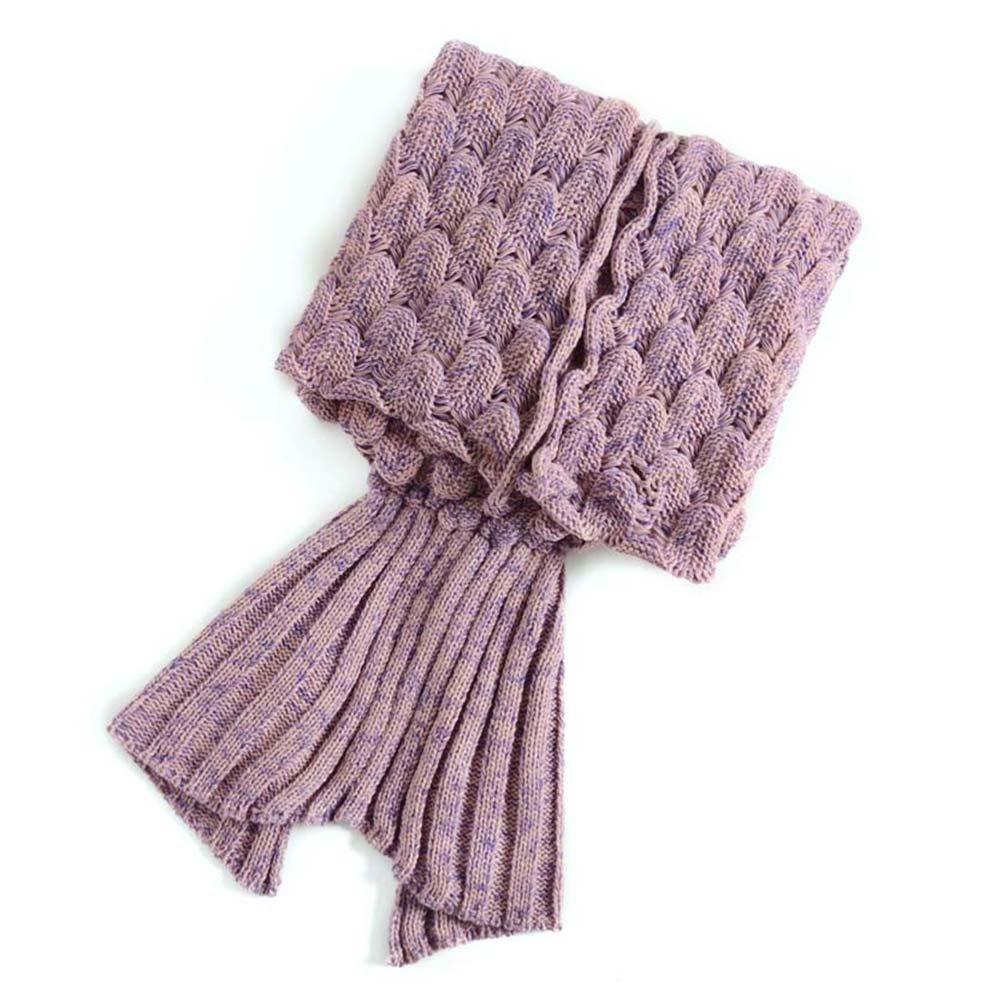 PIXNOR Meerjungfrau Decke Strickmuster Decke für Erwachsene Jugendliche (rosa)