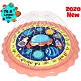 "gebra 76.8"" Sprinkler for Kids Toddlers Splash Pad Outdoor Wading Pool Water Play Toys A-Z Words Animals Space Educationl Design Water Mat Toys for Baby Toddler Girls and Boys Age 1 2 3 4 5 6 7 8 9"