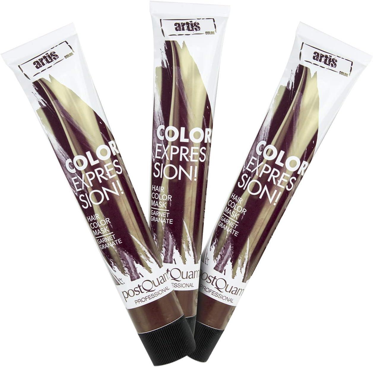 PostQuam - Mascarilla Color Expression, Tinte temporal de pelo - Color Granate - Pack de 3 unidades - 60 gr