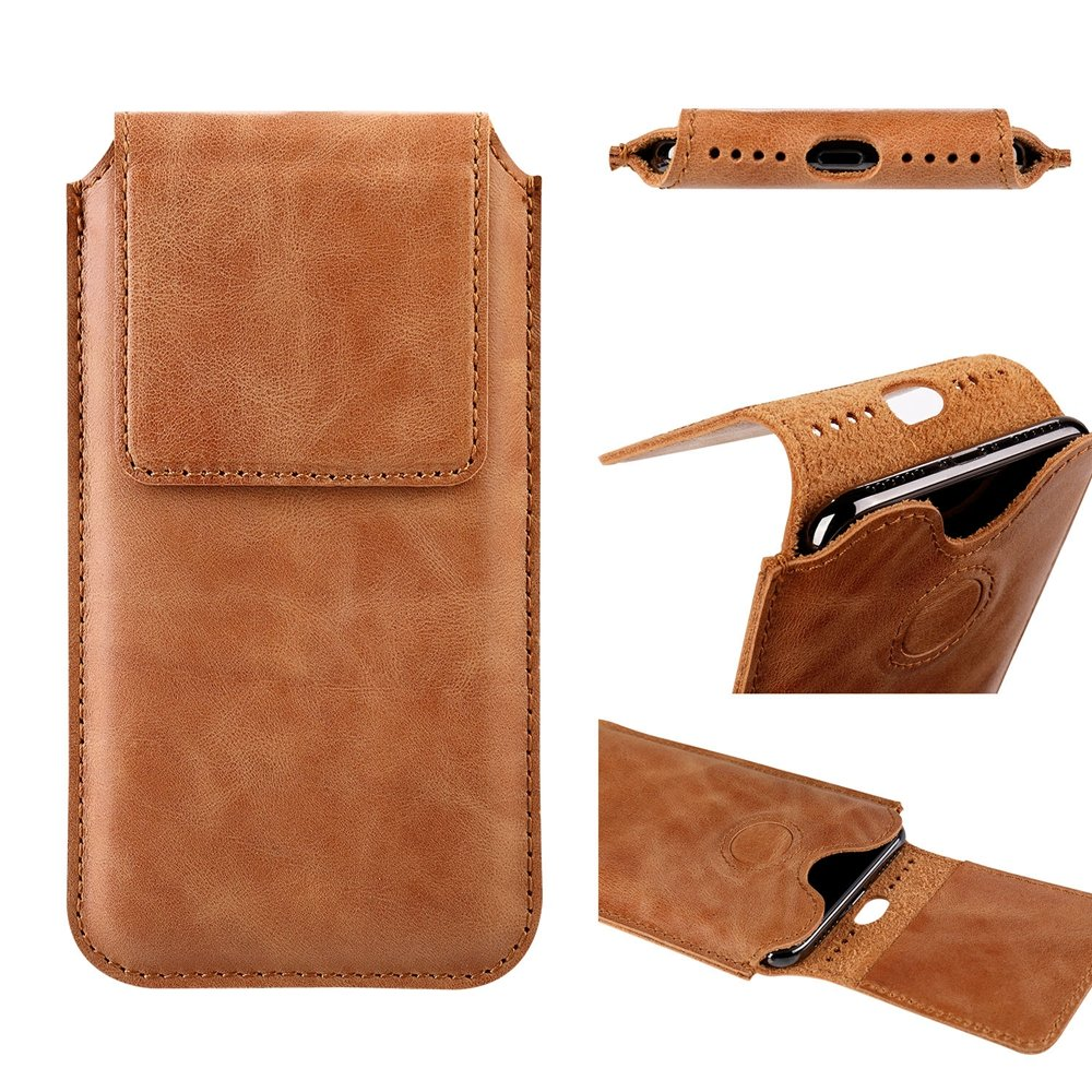 iPhone X Leather Case Sleeve TOOVREN Genuine Leather Protective Ultra Rugged Holster Phone Pouch Carrying Bag for Apple iPhone X/10 (2017) Brown by TOOVREN (Image #2)