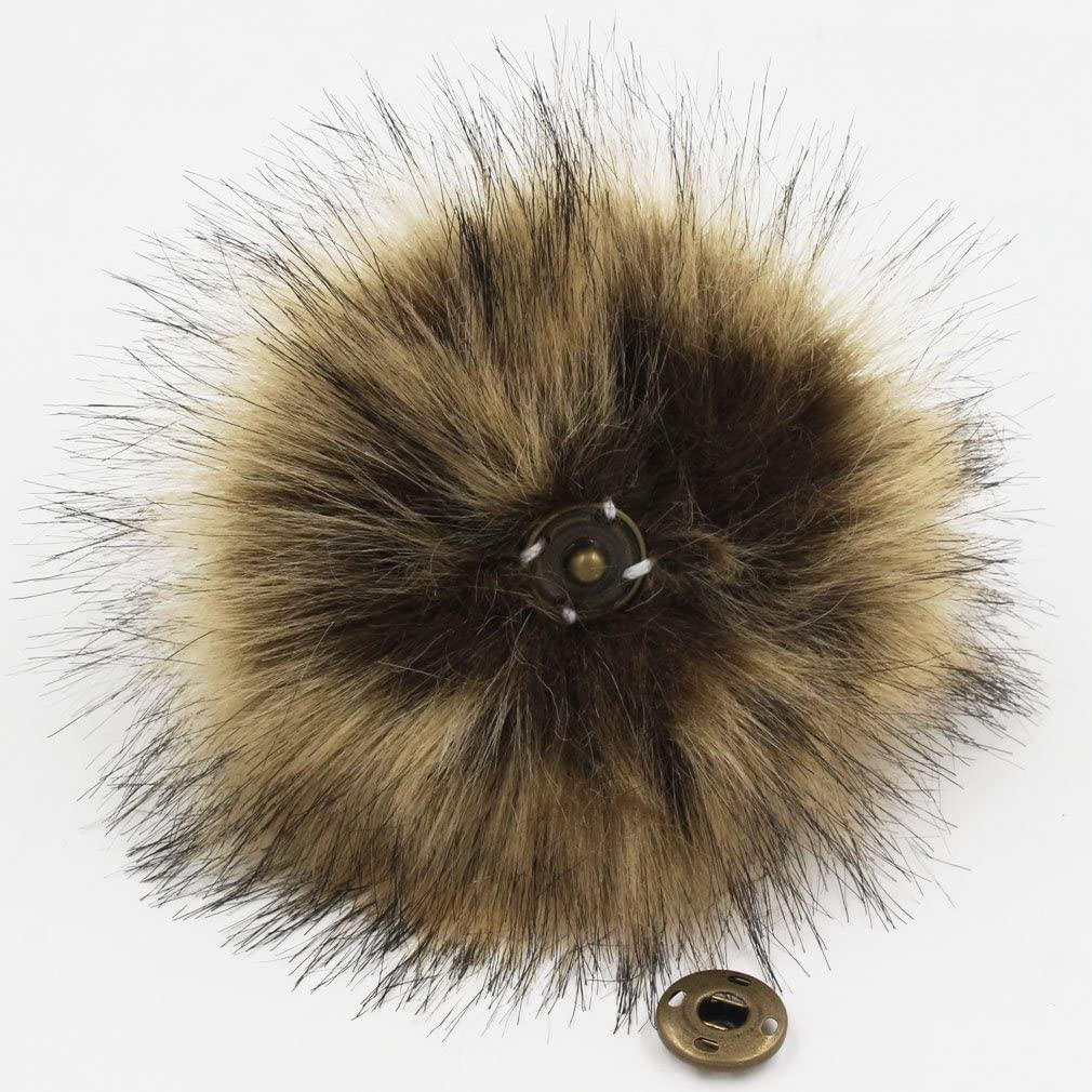 12Pcs DIY Faux Fox Fur Fluffy Pompom Ball,Mixed Color Faux Fox Fur Pompoms Ball with Snap for Knitting Scarves Hats Shoes Bag Charms Accessories