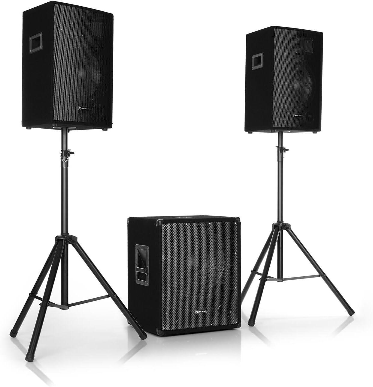 auna Cube 1512 • Equipo de PA 2.1 • 1200 W de potencia total • Subwoofer de 38 cm • 2 altavoces de 30 cm • Tecnología para biamplificar • Eco • Control de graves y agudos • Incluye accesorios • Negro: Amazon.es: Instrumentos musicales