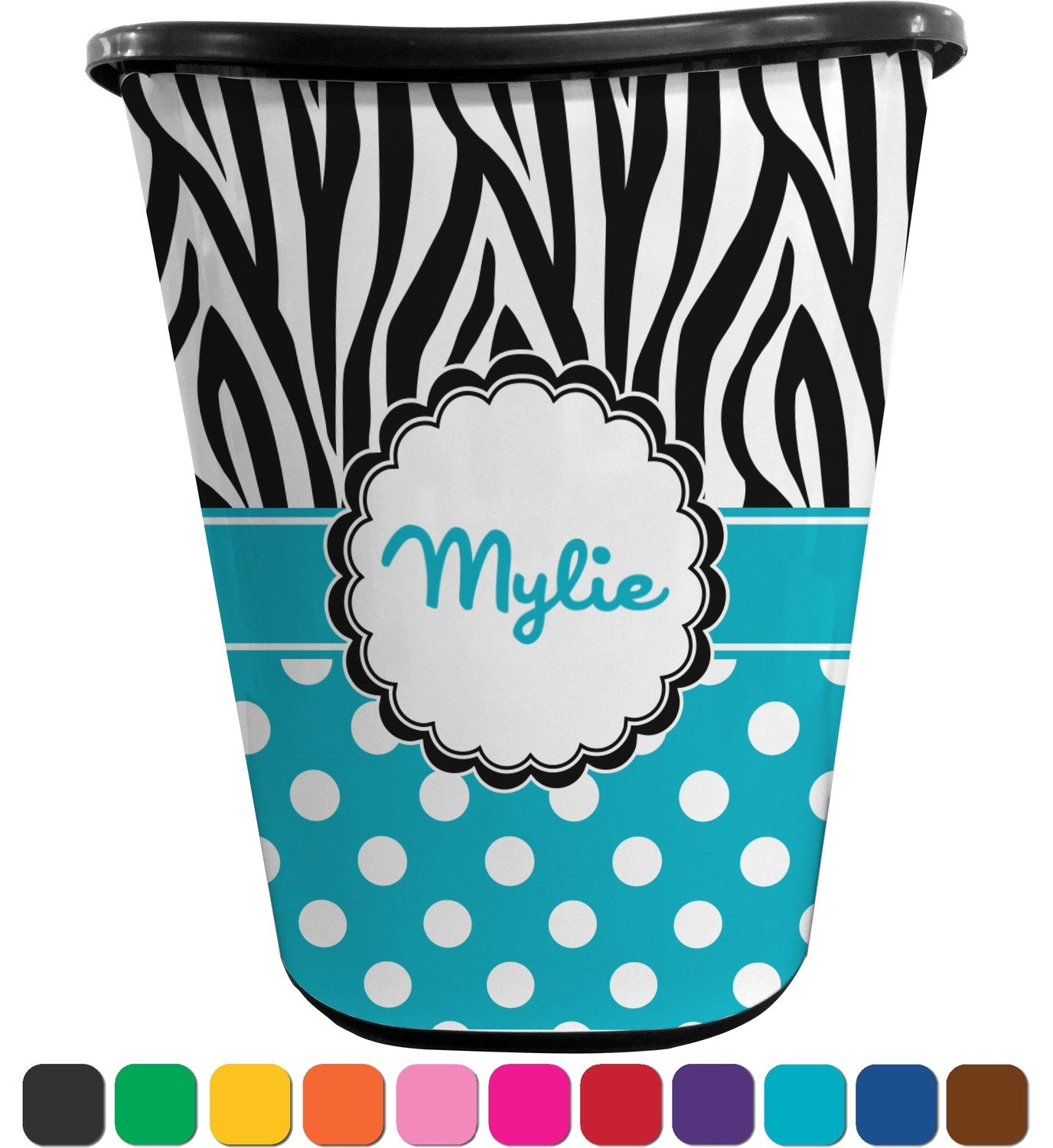 RNK Shops Dots & Zebra Waste Basket - Double Sided (Black) (Personalized)
