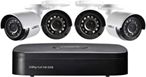 Lorex 1080p Wired Weatherproof Security System, 4 x 1080p HD Bullet Cameras w/with 4-Channel DVR | IR Night Vision | Advanced Motion Detection & Smart Search (4 Pack)