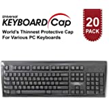 Fully Covered Flat Style Easily Sanitized Universal 0.025mm Superb Tactile Feeling Waterproof Anti-Dust Keyboard Cap Cover for Desktop Keyboard with Numeric Hospital/Dentist Use [20 Pack]