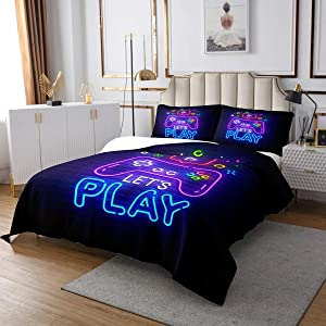 Erosebridal Gaming Gamer Bedspread Twin Video Game Bedding Quilted, Abstract Neon Coverlet Set for Kids Boys Girls, Action Buttons Bed Cover Microfiber Geometry Brick Wall Design Decor