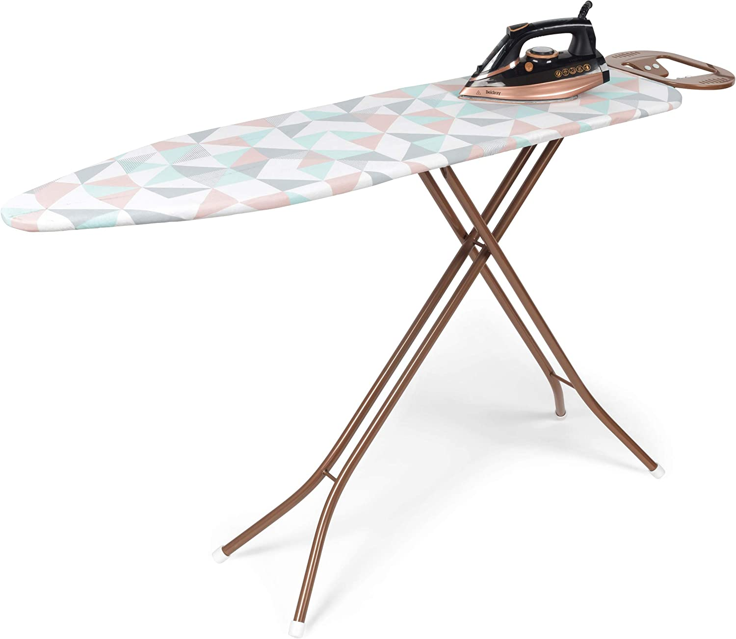 300 ml Beldray/® COMBO-5148 Ultra Ceramic Steam Iron with Dual Soleplate Technology and Glisten Folding Ironing Board Rose Gold 3100 W