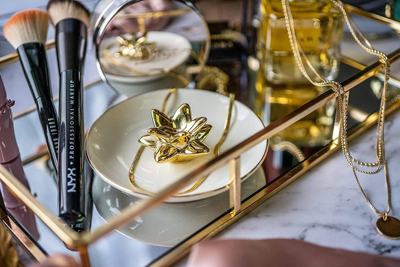 3 Pcs Nesting Gold Mirror Tray, Decorative Jewelry Perfume Trays for Vanity, Dresser, Bathroom, Bedroom Display, can Hold Cosmetics, Makeup, Magazine: Home Improvement