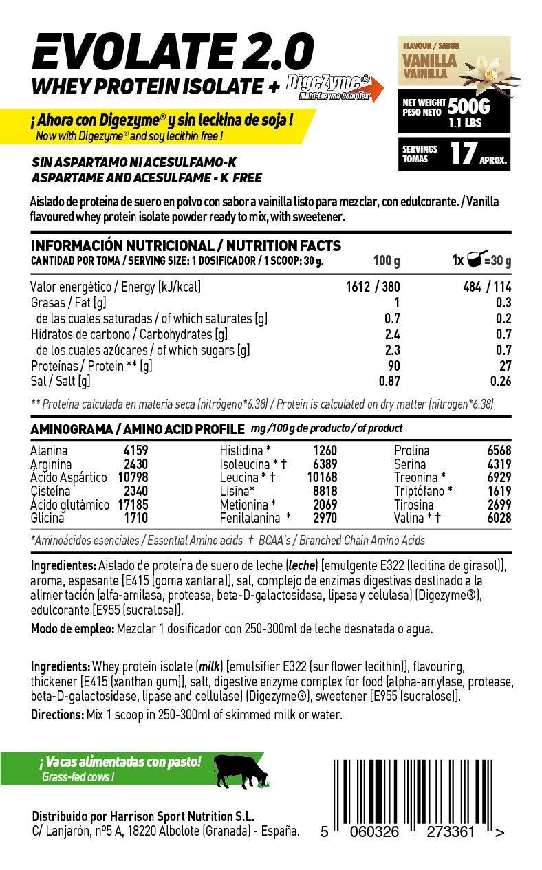 Whey Protein Isolate (WPI) de HSN Sports - Aislado de Proteína de Suero Evolate 2.0 - Sabor Vainilla - 500 gr