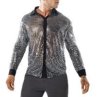 WanYangg Chemises Homme Brillant Point Paillettes Slim Fit Perspective Décoration en Métal Shirt De Night-Club Disco Danse Chemise De Revers Automne Et Hiver