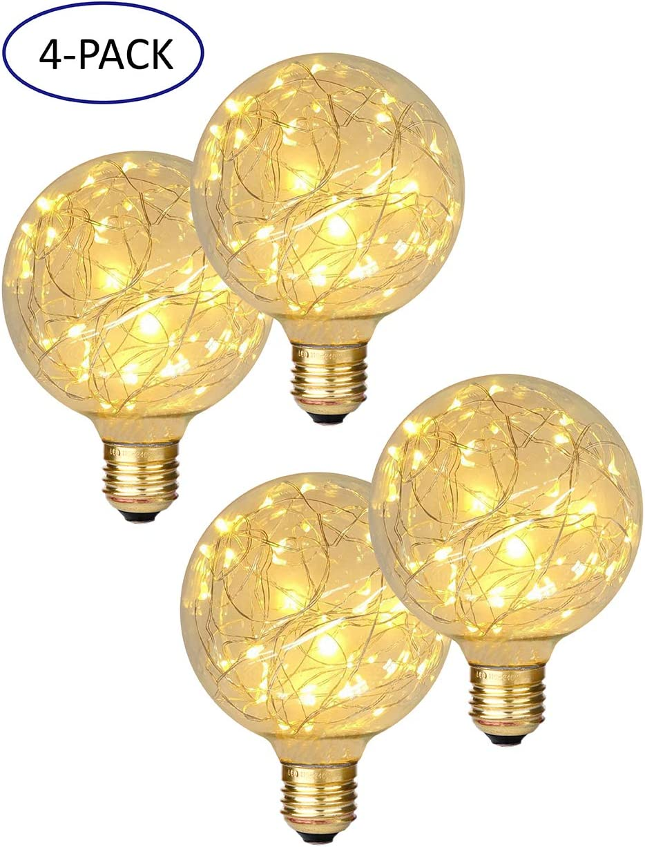 Beilf Copper Wire LED Globle Starry Light Bulb G95 for Ambient Decoration Lighting, E26 Brass Screw Base 2W 2200K Vintage Edison Style LED Fairy Bulb Warm White Flicker Free, 4 Pack.