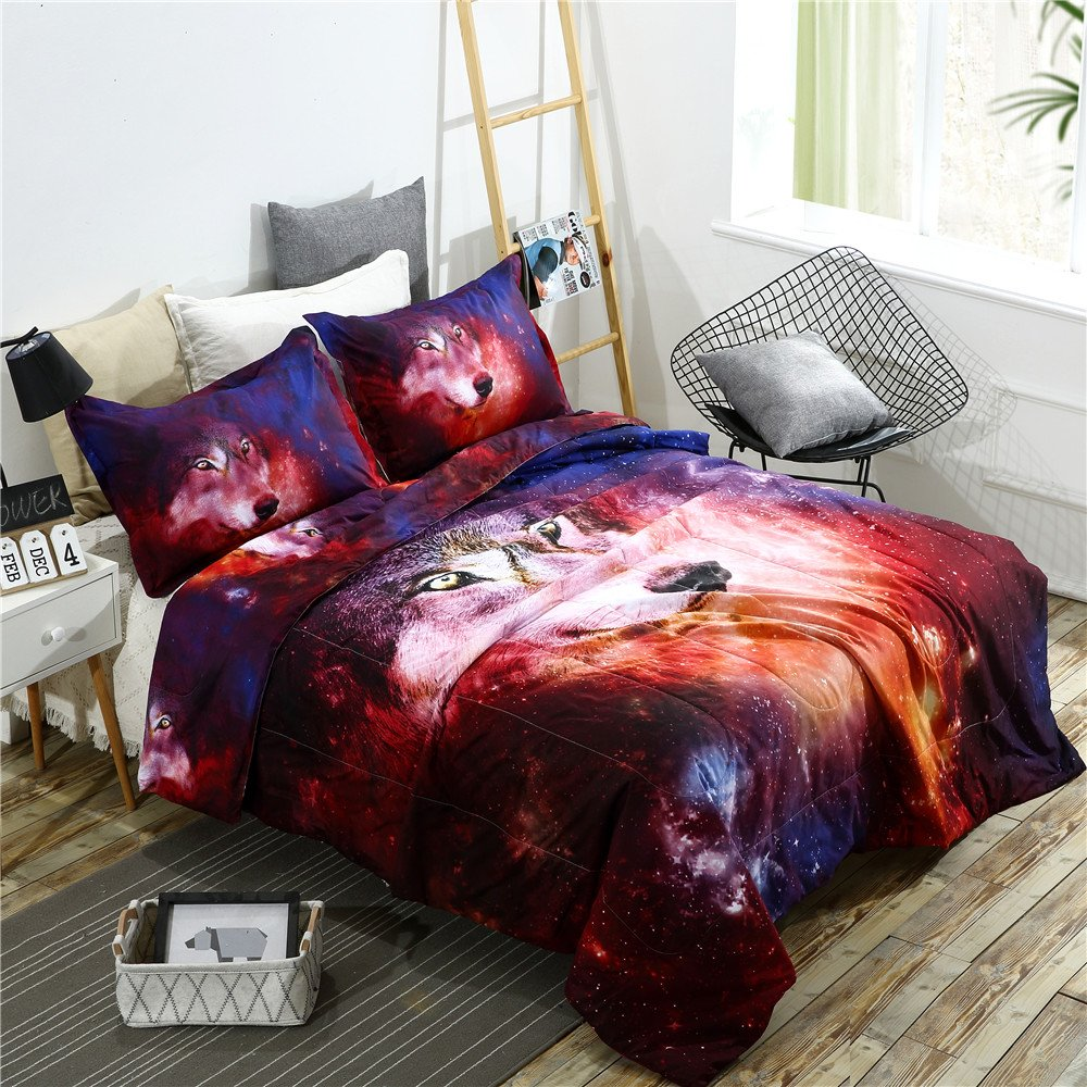 YOUSA 3-Piece Galaxy Wolf 3D Bedding Sets Galaxy Quilt Set Boys and Girls Bedspreads/Coverlet Sets/Comforter Sets (Full/Queen,03)