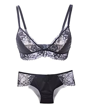 3401e16edd6a Sexy Unlined Without Rims Silk Plus Lace Ultra-Thin Ladies Underwear  Comfortable Bra Set,