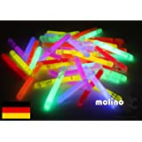 Decotrend-Line Set of 50 Mini Neon Sticks Mix 6 Colours Neon Glow LED Size: 38x4.5 mm, Assorted, 120051