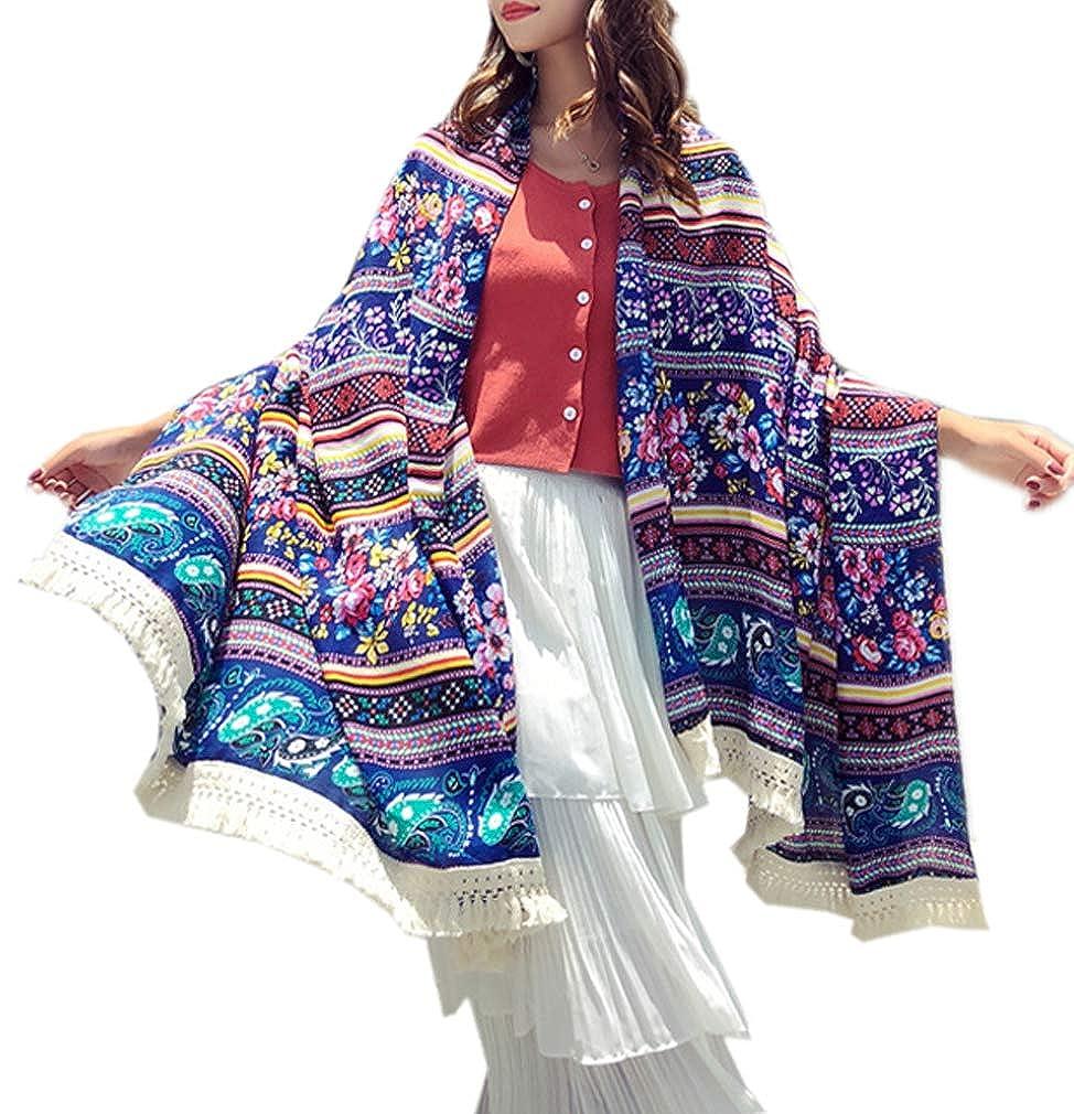 Women's Boho Bohemian Soft Blanket Oversized Fringed Scarf Wraps Shawl Sheer Gift boho-01