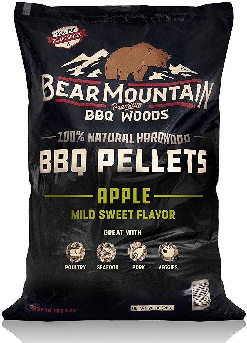 Bear Mountain BBQ 100% All-Natural Hardwood Pellets - Apple Wood (20 lb. Bag) Perfect for Pellet Smokers, or Any Outdoor Grill | Mild Sweet, Smoky Wood-Fired Flavor