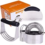 BYkooc Biscuit Cutter Set,Stainless Steel Pastry Cutters,5 Round Cookie Cutter with Handle, Heavy Duty Dough Cutter…
