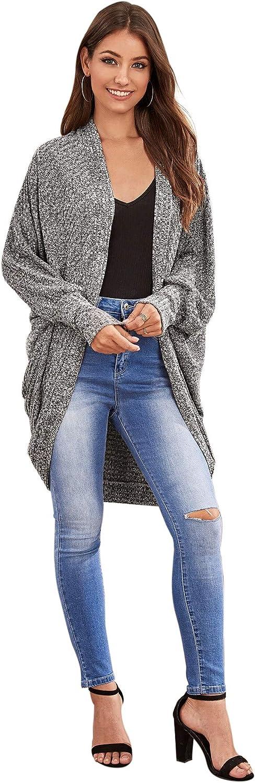SweatyRocks Womens Casual Oversized Open Front Dolman Long Sleeve Knit Cardigan Sweater
