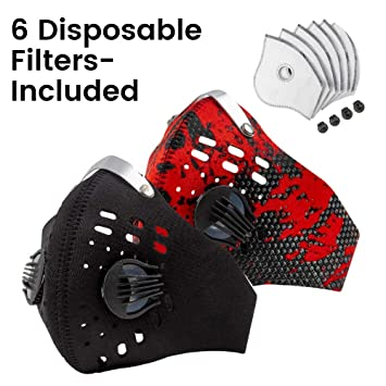 Protective Gear Airsoft Outdoor Activities Suitable For Woodworking N95 Axsyon Dust Mask Sports Lifestyle Face Mask 3 Filters 2 Valves Included Menyari Com
