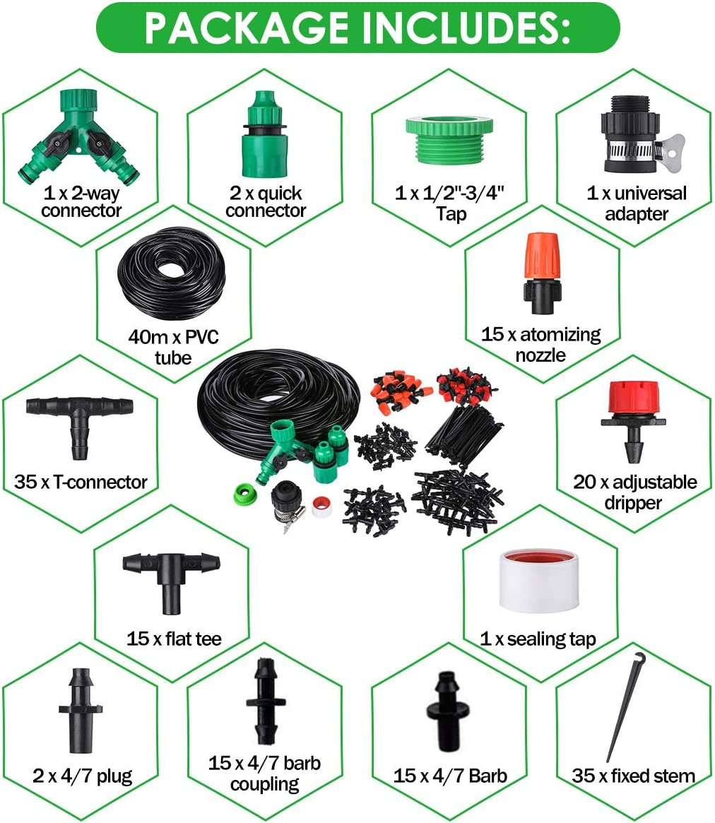 OUTERDO 40M Micro Drip Irrigation Kit,Patio Plant Watering Kit Garden Mist Cooling Irrigation System Automatic Micro Flow Drip Watering System with Distribution Tubing Hose Adjustable Nozzle 1//4Hose