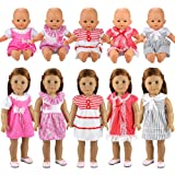 Miunana 5 PCS Fashion Clothes Dresses For 14 -18 Inch Baby Dolls, Newborn Dolls, American Girl Dolls And Other 14 - 18 Inch Dolls (With VAT Invoice)