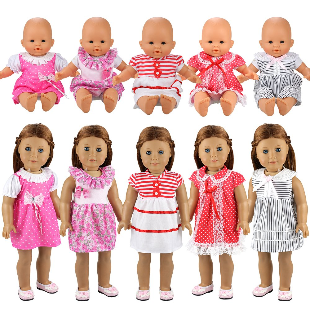 Miunana 5 PCS Fashion Clothes Dresses For Baby Dolls, For New Born Baby Dolls, For American Girl Dolls and Other 14 - 18 Inch Dolls