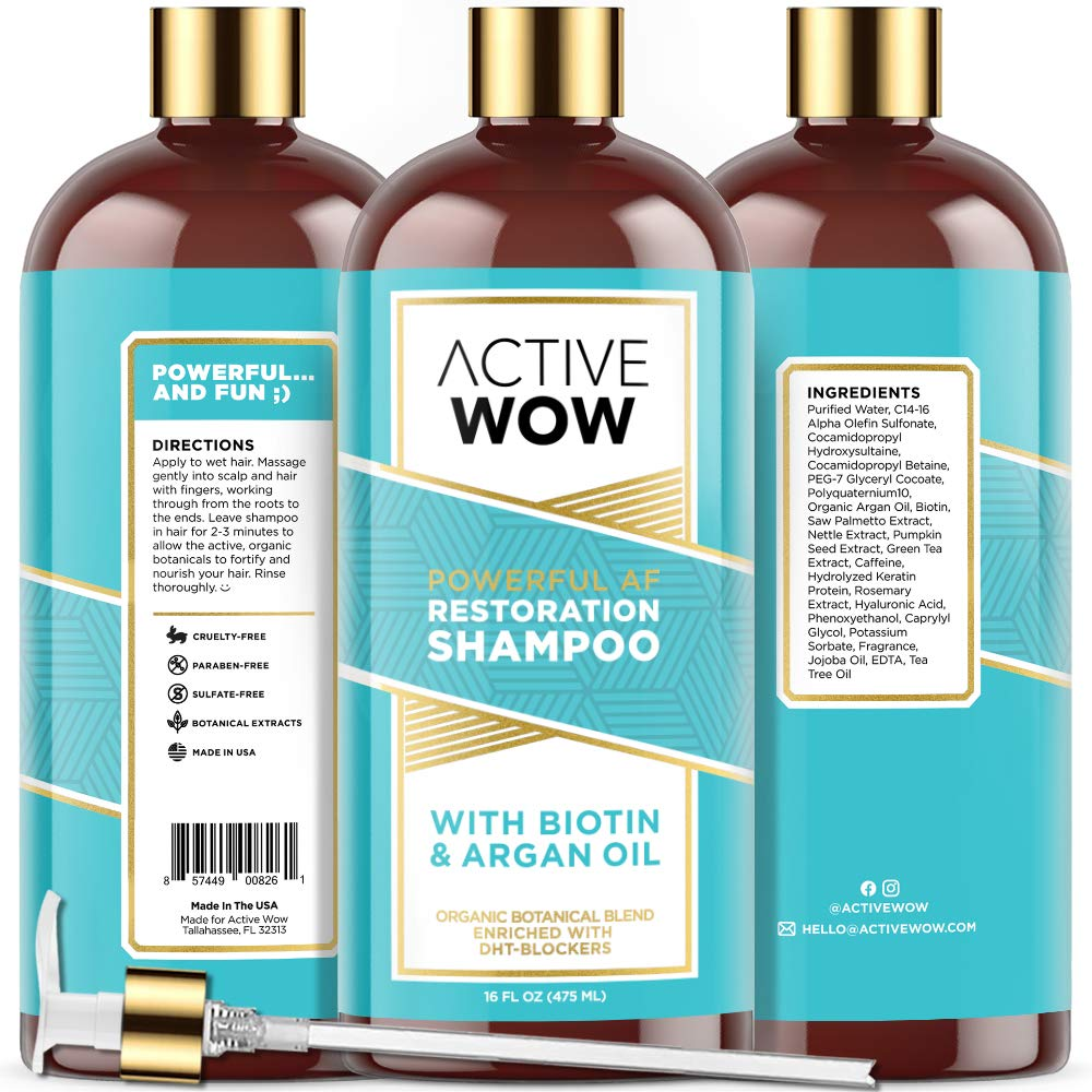 Active Wow Hair Growth Shampoo - DHT Blockers with Argan Oil & Organic Botanicals, 16 Fl Oz