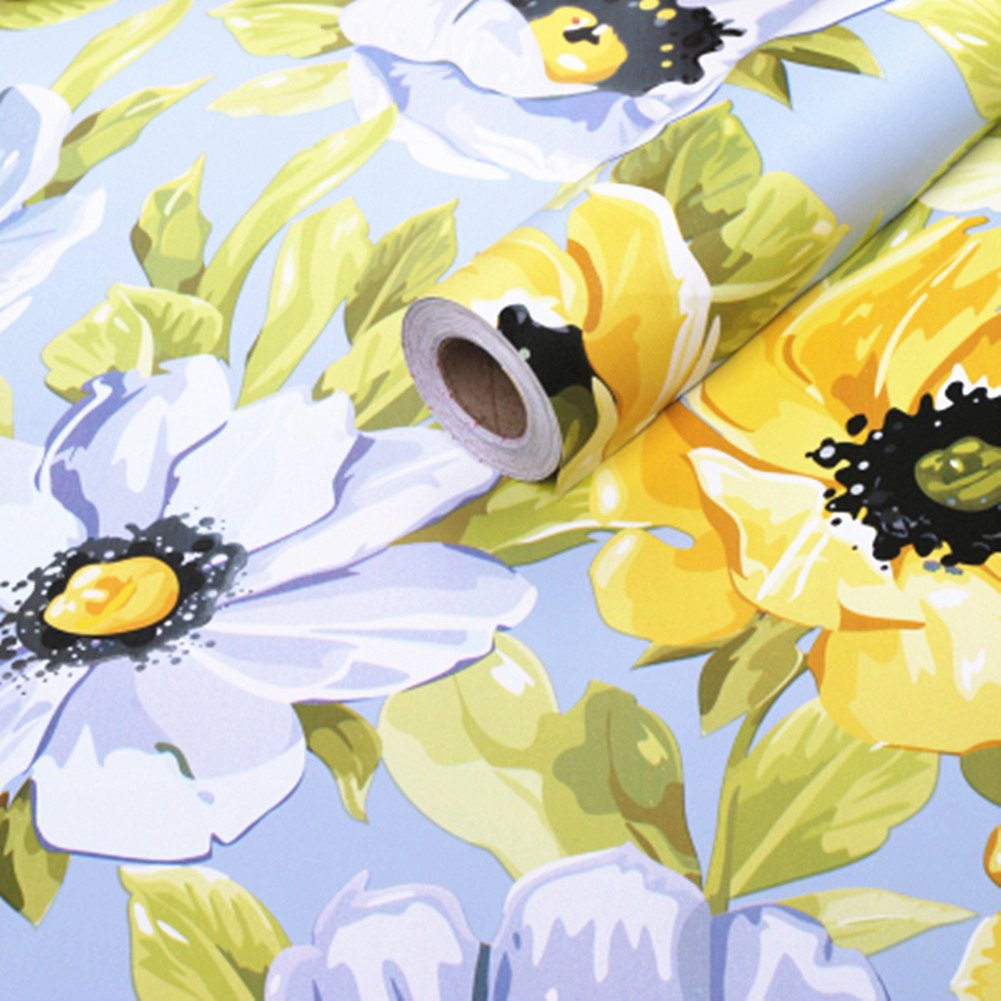Amao Bright Sunflower Covering Self-Adhesive Contact Paper Vinyl Shelf Drawer Liner 17x78.7inch