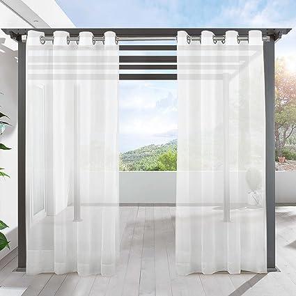 Amazon Com Lifonder Outdoor Sheer Curtains 84 Waterproof Grommet